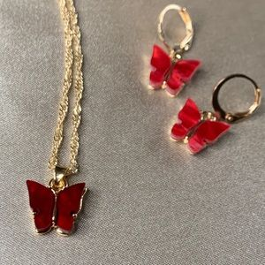Ruby Red butterfly necklace and earring set